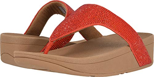 FitFlop Women's Lottie Shimmer Crystal Passion Red/Chipmunk 5 M US