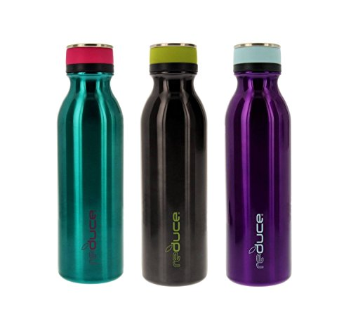 reduce COLD-1 Stainless Steel Vacuum Insulated Hydro Pro Bottle with Nonslip Rubber Base, 20oz – Tasteless and Odorless (Teal/Gray/Purple) – 3pk