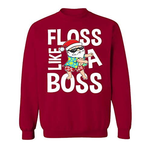 Floss Like A Boss Christmas Costume Sweatshirts for Women and Men Unisex Sweaters(Cardinal -