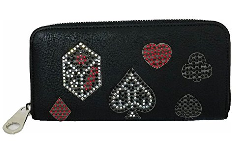 HX Vegas Casino Gamble Gaming Playing Cards Suits Dice Emblems Wallet Jp Black