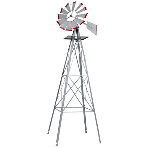 New 8Ft Tall Windmill Ornamental Wind Wheel Silver Gray And Red Garden Weather Vane (Homemade Halloween Decoration Ideas For Outside)