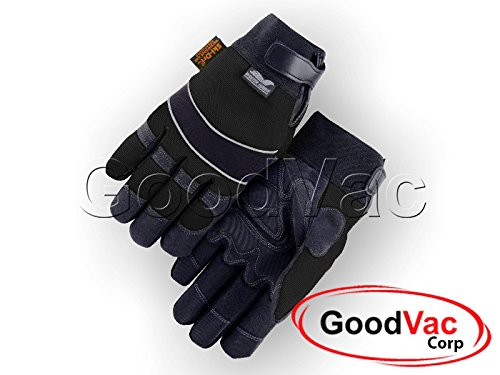 Piping Winter Gloves (Majestic 2145BKH (XL) Winter Lined Synthetic Leather Waterproof Heatlok Gloves - XL)