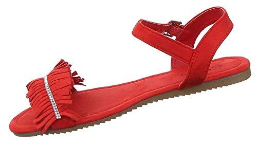 Damen Sandalen offen Fransen Indianer Riemchen Sommer Strand Schuhe schwarz camel beige rot 36 37 38 39 40 41 Rot