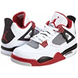 "Nike Mens Air Jordan 4 Retro ""Fire Red"" White/Varsity Red-Black Leather Basketball Shoes Size 10"
