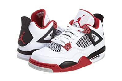 Mens Nike Air Jordan Retro 4 Basketball Shoes White / Black / Varsity Red 308497-110 Size 10.5