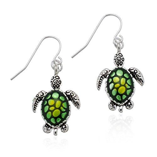 - PammyJ Sea Turtle Earrings - Silvertone Green Turtle Dangle Jewelry Earrings