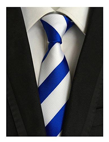 Rayé Hommes Mindeng Cravate De Loisirs D'affaires De Soie Jacquard Tissé Classique Bleu
