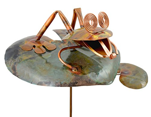 Modern Artisans American Made Copper Frog on Lily Pad Outdoor Sculpture & Garden Stake