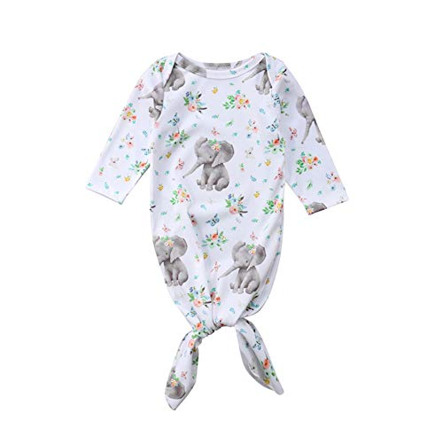 Newborn Baby Girls Floral Elephant Sleeper Gown Long Sleeve Sleeping Sack Swaddle Wrap Receiving Blankets Outfits (3-6 Months) ()