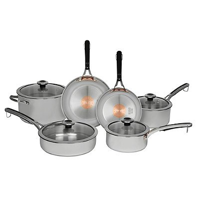 Revere Copper Confidence Core 10-Piece Stainless Steel Cookware Set l Stainless Steel and Copper Construction
