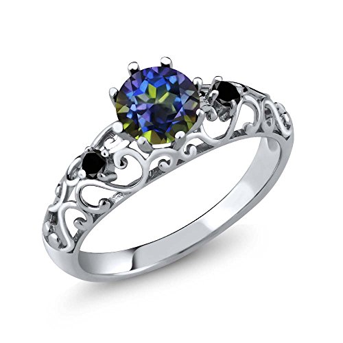 Gem Stone King Sterling Silver Round Blue Mystic Topaz Black Diamond Women s Ring 1.11 cttw Available 5,6,7,8,9