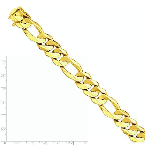 16mm Or 14ct Fancy lourds-Bracelet chaîne maille figaro-Fermoir-20cm