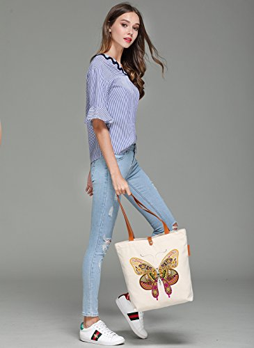 So'each Women's Butterfly Geometry Graphic Top Handle Canvas Tote Shoulder Bag