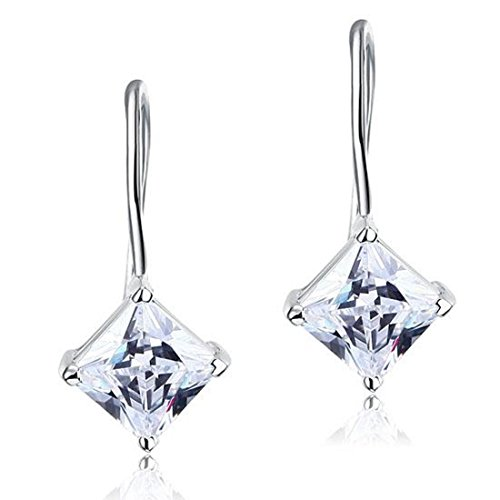 Exquisite Selebrity 1.5 Carat Princess Cut Created Diamond Dangle Drop 925 Sterling Silver Earrings (Exquisite Silver Plated)