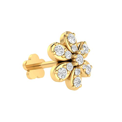 (Animas Jewels DGLA Certified 14k Yellow Gold Flower Stud Nose Pin for Women 0.09 Cttw Natural Diamond (G-H Color. I Clarity) Round Cut 4-Prong Setting. Available in 6 mm & 8 mm Length (8))