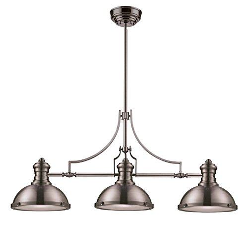 ELK Lighting 66125-3 Chadwick 3-Light Billiard Light, 21-Inch, Satin Nickel