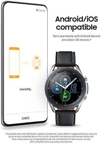 Samsung Galaxy Watch 3 (41mm, GPS, Bluetooth) Smart Watch with Advanced Health Monitoring, Fitness Tracking , and Long lasting Battery - Mystic Silver (US Version)