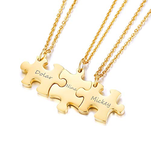 Mealguet Jewelry Free Engraving Gold Plated Stainless Steel Three Puzzle BFF Best Friend We Will Always be Connected Friendship Necklace Set for 3