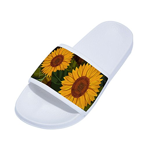 Slip White for Drying Buteri Sunflowers Womens Non Slippers Slippers Quick XFPwSxUnz