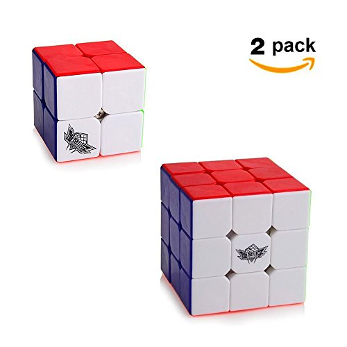 Cyclone Boys Speed Cube Set [2 Pack] 2x2 (50mm) 3x3 (56mm)Speed Cube Stickerless Magic Cube Puzzles (Two Pack Set)