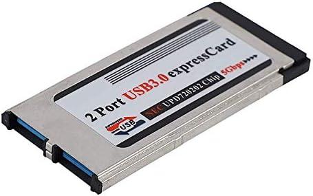 Facibom Hoch Geschwindigkeits Dual 2 Port USB 3.0 Express Karte 34 Mm Steck Platz Express Karte PCMCIA Konverter f/ür Laptop Notebooks