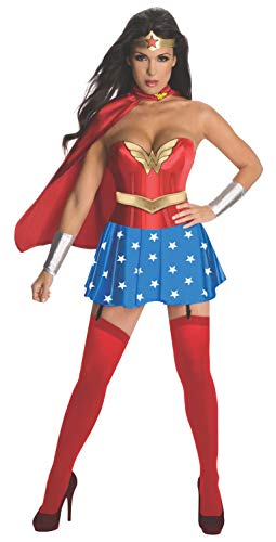 Secret Wishes Womens DC Comics Wonder Woman Corset Costume, Red/White/Blue, Small ()