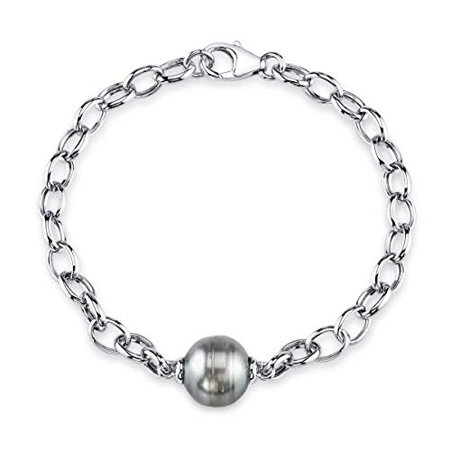THE PEARL SOURCE 10-11mm Genuine Baroque Black Tahitian South Sea Cultured Pearl Link Bracelet for Women
