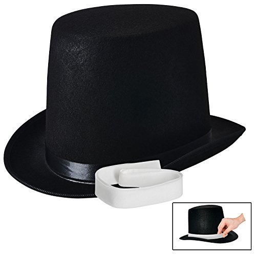 (NJ Novelty - Top Hat Black Felt Costume Accessory Party Dress Up Hats)