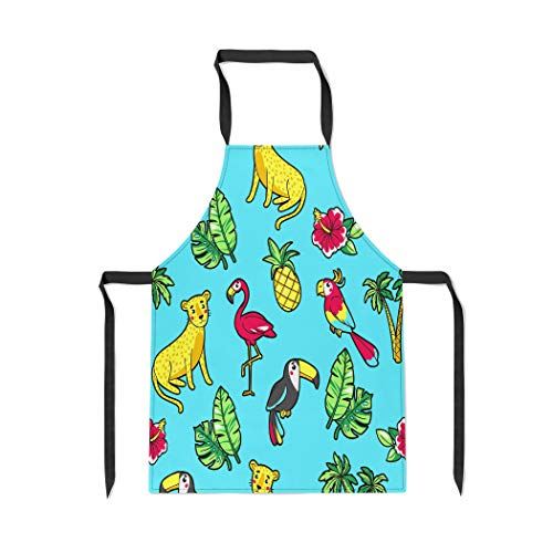 Pinbeam Apron Tropic Hibiscus Leopard Flamingo Toucan Parrot Pineapple Palm with Adjustable Neck for Cooking Baking Garden