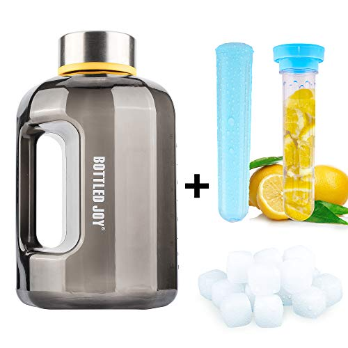 BOTTLED JOY 2.2L Sports Water Bottle Large Capacity Water Bottle Jug Water Bottle Water Bottle with Fruit Infuser Ice Cube Fitness Gym Outdoor 80oz Camping (20pcs Ice Cube-Infuser-2.2Lblack) -