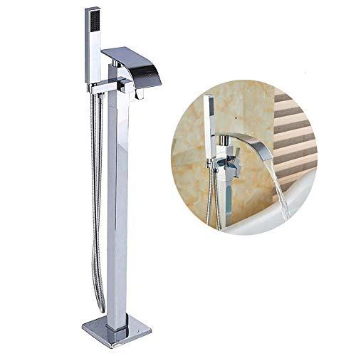 Votamuta Floor Mounted Waterfall Spout Bathroom Tub Filler Shower Faucet Set Single Handle Chrome Finish Bathtub Shower Mixer Tap with Hand Sprayer (Bath Shower Mixer Taps Chrome)