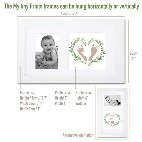 Baby handprint and footprint kit in baby picture frame. Inkless and mess free baby footprint kit and baby handprint kit…