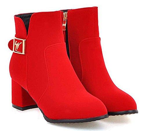 Chfso Womens Fashion Solid Rund Tå Spänne Dragkedja Mitten Chunky Häl Boots Röd
