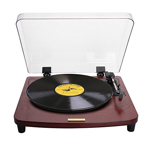 ZasLuke SG-20-Wood Stereo Turntable LP Record Vinyl Player w