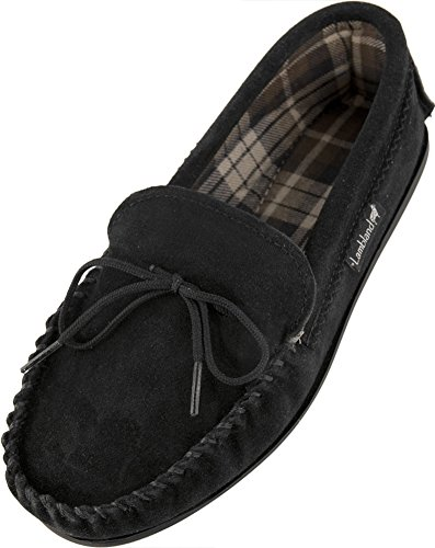 Lambland Mens British Handmade Moccasin Slippers with Cotton Lining and Hard Wearing Sole in Black / Size US9