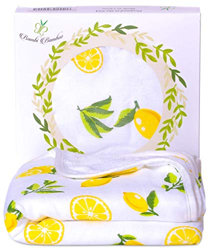 Laid Out Beach Towel - Bambi Bamboo Hooded Baby Bath Towel - Luxury Spa Super Soft for Sensitive Skin - Lemon, 2 Layers, Reversible - Absorbent, Keep Dry&Warm-Antibacterial,Hypoallergenic-Perfect Shower Registry Gift