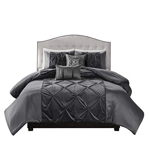 Madison Park LAF02-0400 Mia Faux Velvet 5 Piece Comforter Set Grey King ()