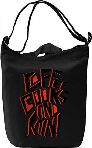 Coffee Books And Rain Borsa Giornaliera Canvas Canvas Day Bag| 100% Premium Cotton Canvas| DTG Printing|