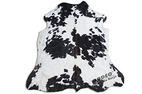 Black & White Cowhide - RODEO Real Cowhide Genius Leather Hair on Leather Rug Decorative Value Size Approx 6X7 ft (Black and White)