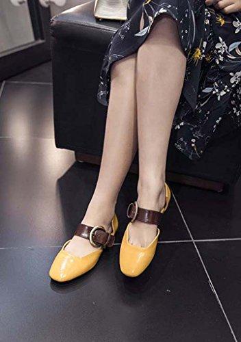 SHEO sandalias de tacón alto Sra. Europa y los Estados Unidos una palabra hebilla cabeza cuadrada con zapatos boca baja Amarillo
