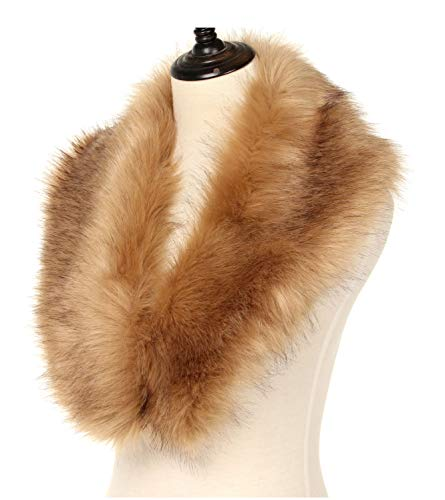 La Carrie Women's Faux Fur Collar Scarf Wrap Cold Winter Warmer(Brown)