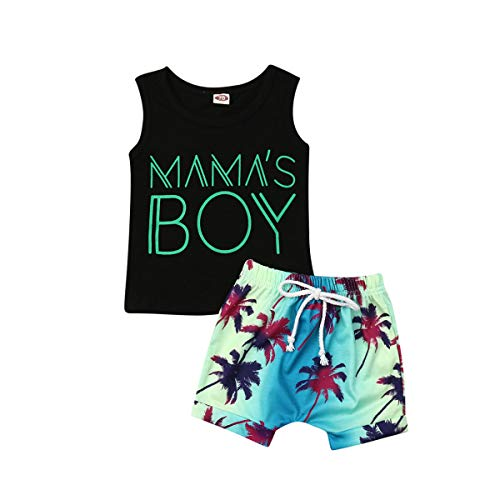 Newborn Baby Boy Sleeveless Hooded Top Vest T-Shirt & Short Pants Set Toddler Boy Clothes Tracksuit Outfit (Black&Coconut Tree, -