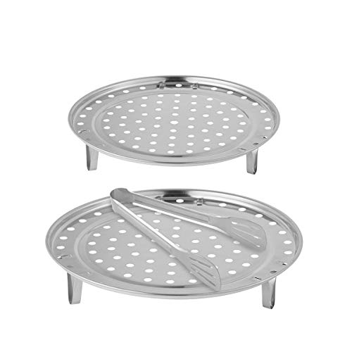 Cooker Rack - Aieve 2 Pack 9/10 Inch Pressure Cooker Canner Rack,Stainless Steel Canning Racks for Pressure Canner with Detachable Legs,1 Pack 9 Inch Kitchen Tongs for Cooking,Toast,Bread,Salad,Baking by Aieve