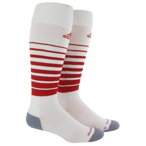 adidas Team Speed Soccer Socks (1-Pack), White/University Red, Large