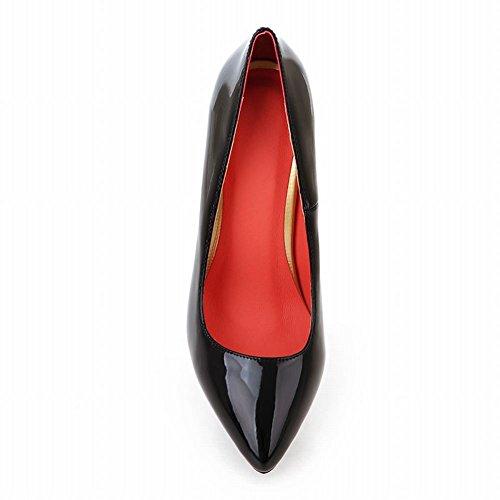 Latasa Mujer's Fashion Charol De Tacón Alto Vestido De Tacón Alto Bombas Zapatos Negro