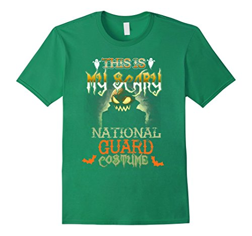 Mens This Is My Scary NATIONAL GUARD Costume Halloween Shirt Medium Kelly Green (Usa National Costume For Men)