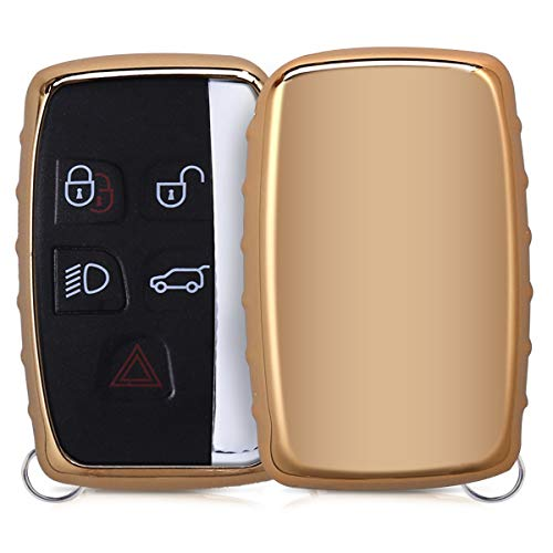 - kwmobile Car Key Cover for Land Rover Jaguar - Soft TPU Silicone Protective Key Fob Cover for Land Rover Jaguar 5-Button Remote Car Key - Gold High Gloss