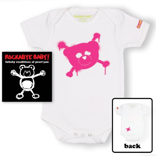 Price comparison product image Rockabye Baby! Pearl Jam + 100% Organic Cotton Bodysuit (White/Pink)