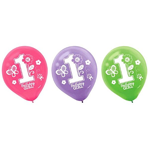 Pretty in Pink Sweet 1st Birthday Party Printed Latex Balloons Decoration, Pink/Green/Purple, Latex, 12