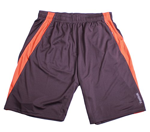 Reebok Mens Breathable Mesh Sport Athletic Shorts (Large, Grey/Orange)